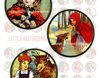 Little Red Riding Hood...1x1 Inch...Circles...Bottlecaps...Digital Collage Sheet