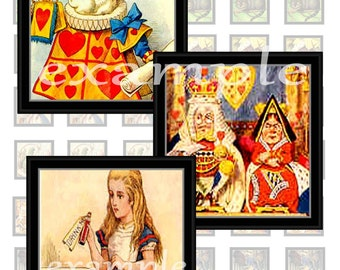 Framed Alice In Wonderland Character Inchies Digital Collage Sheet 1 ... White Rabbit, Alice, Made Hatter and More