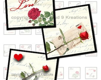 Love Letter Inchies Digital Collage Sheet
