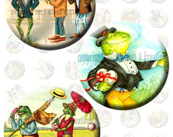 Storybook Frogs 1x1 Inch Circles Digital Collage Sheet