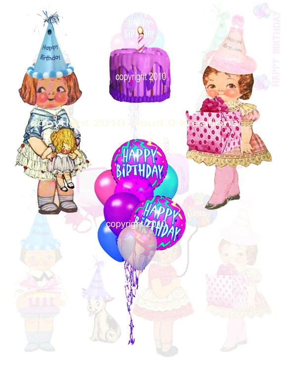 Dolly Dingle Birthday...Digital Collage Sheet - Vintage Paper Doll, Paperdoll
