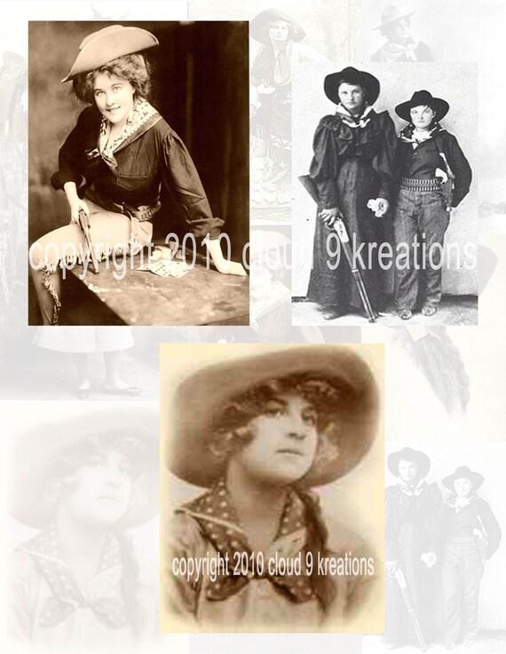 Vintage Cowgirls Digital Collage Sheet 1...Western