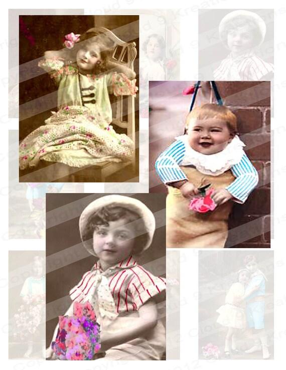 Victorian Children . . . Tinted Photos. . .  Digital Collage Sheet