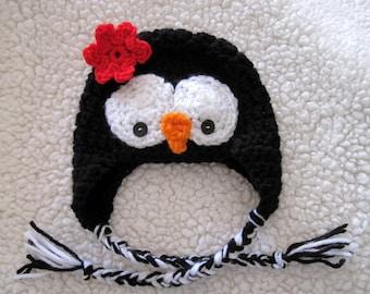 Crochet Baby Penguin Hat, Newborn Animal Hat, Infant Girl Hat, Baby Halloween Hat, Baby Hat with Ear Flaps and Ties, Baby Girl Photo Prop