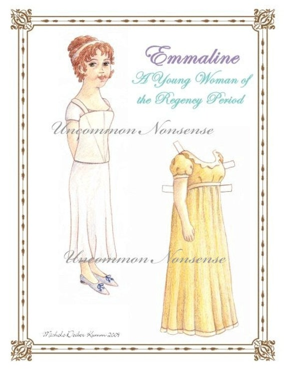 Emmaline, A Young Woman of the Regency Period, An Atrtist Paper Doll
