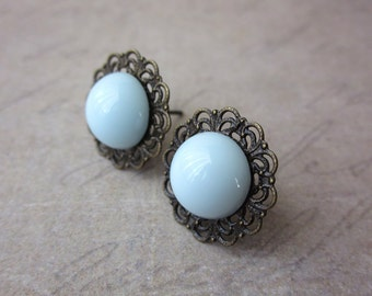Lace Edge Posts in Powder Blue