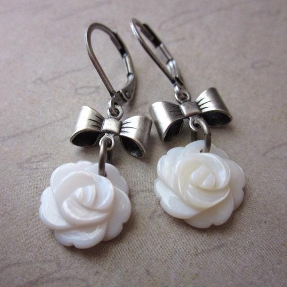 Mother of Pearl Rose Earrings