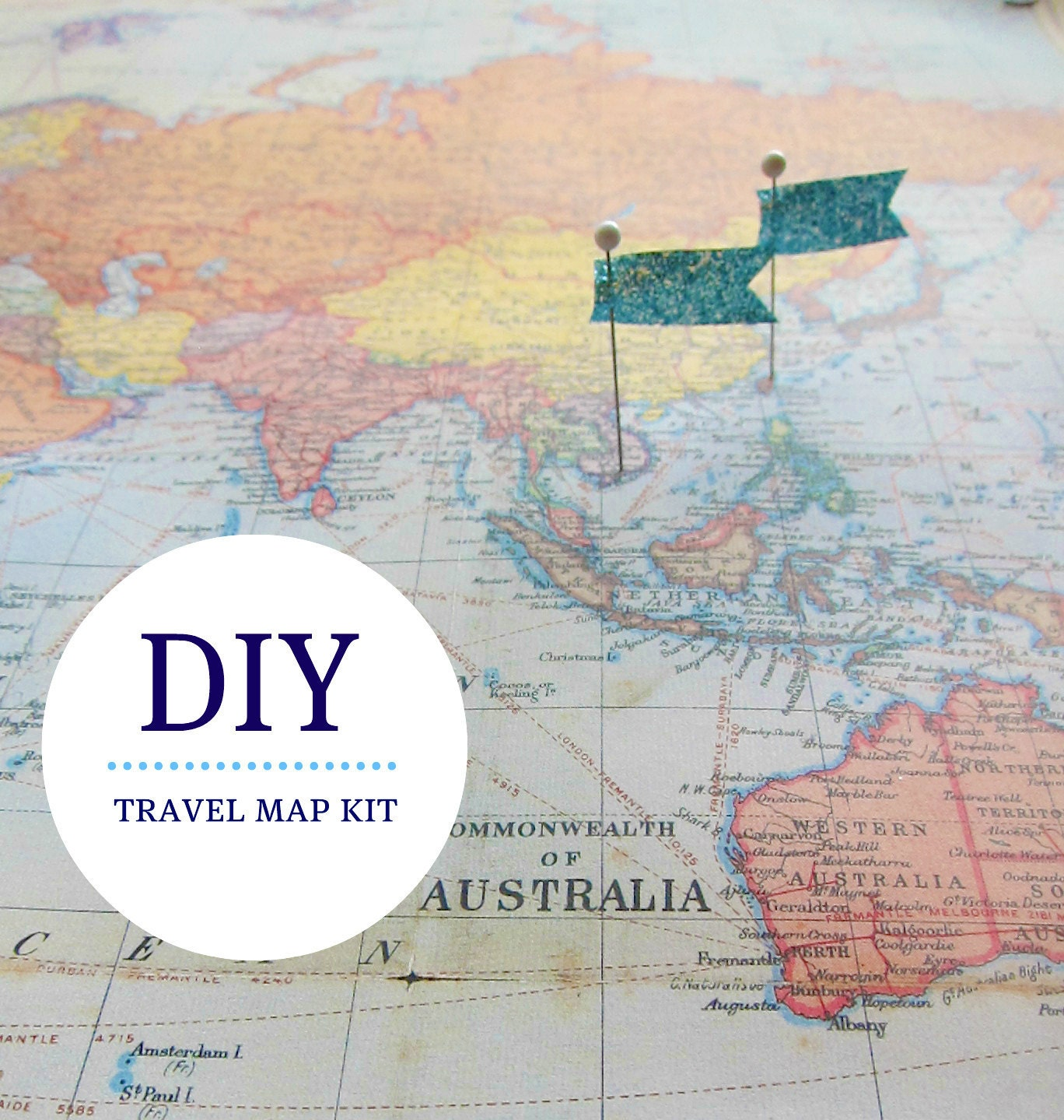 Pin Your Travels World Map Kit by EcoMonster on Etsy