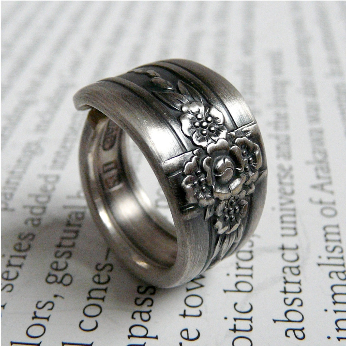 antique silver spoon ring triumph 1941 by revisions on etsy