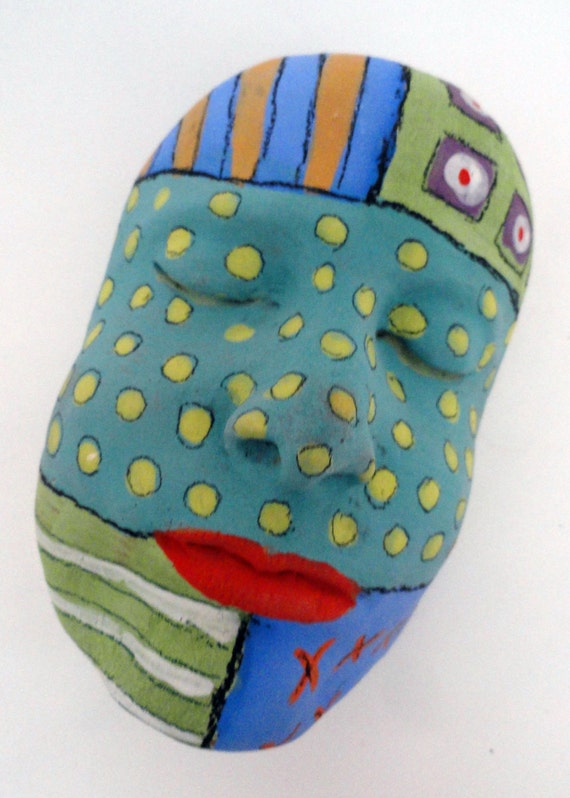 Ceramic art mask wall hanging Primative tribal Color of Dreams