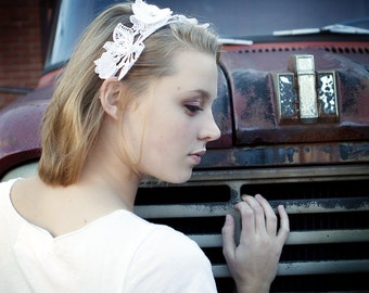 CLEARANCE - HEADBAND - Venice Lace headband, white headband, lace bridal headpiece, Swarovski crystals