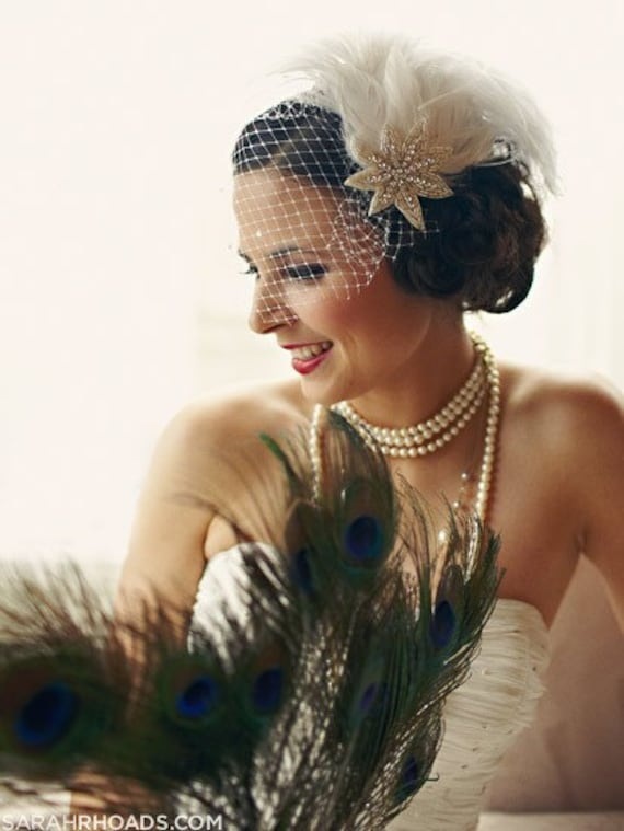 Ivory White Feather Fascinator with Birdcage Veil - Wedding Hair Accessory - Silver Headpiece - Crystal Bridal Accessory - Great Gatsby