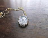 Vintage Glass and Gold Cameo Necklace