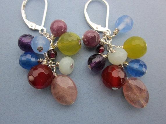 mixed gemstone cluster earrings