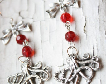 Girly Octopus Red Rosary Earrings