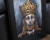 Jesus with Crown, Portriat, Head - Original Acrylic Painting