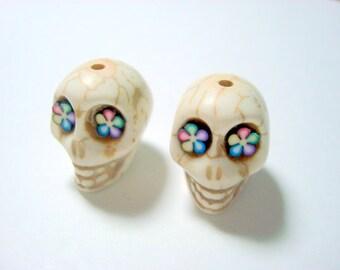 Bright Color Flower Eyes Ivory Howlite 18mm Sugar Skull Beads