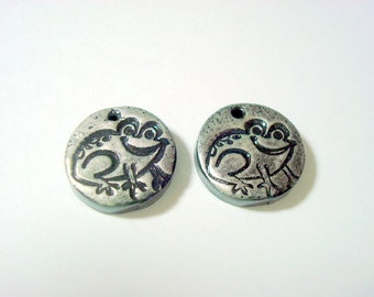 Froggies - Handmade Black and Silver Polymer Clay Focal Beads