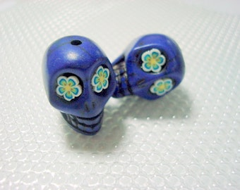 Bright Flower Eyes In Cobalt Blue 18mm Howlite Skull Beads