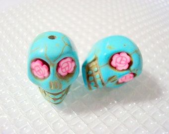 Pretty Pink Roses in Eyes of  Turquoise Howlite 18mm Sugar Skull Beads