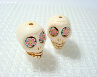 Pink and Green Flower Eyes Ivory Howlite 18mm Day of the Dead Sugar Skull Beads