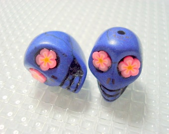Pink Flower Eyes in Cobalt Blue 18mm Howlite Sugar Skull Beads