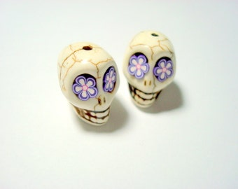 Purple Flower Eyes Ivory Howlite 18mm Sugar Skull Beads