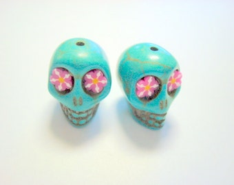 Turquoise Howlite 18mm Sugar Skull Beads with Pink Flower Eyes