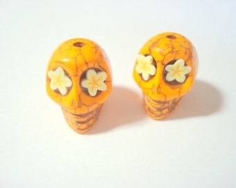 Star Flowers in Butterscotch Howlite 18mm Sugar Skull Beads