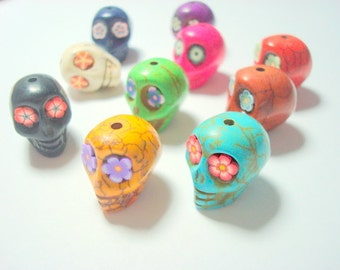 Rainbow Variety of  20mm Howlite Sugar Skull Beads with Flower Eyes