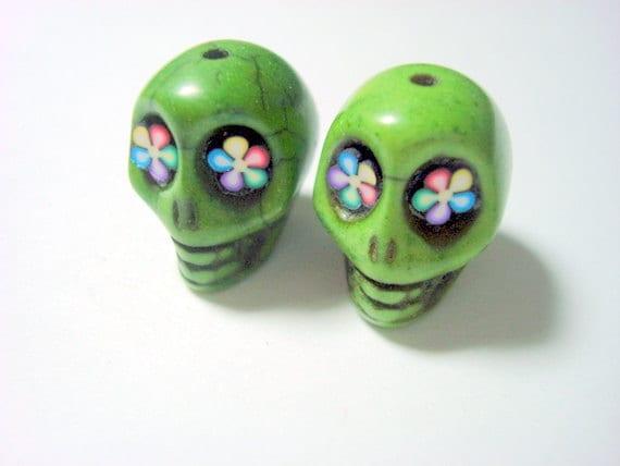 Ranbow Flower Eyes Green Howlite 18mm Sugar Skull Beads