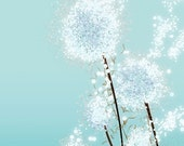 Dandelion Art - Perennial Moment (aqua) - 8x10 Print - Light Blue