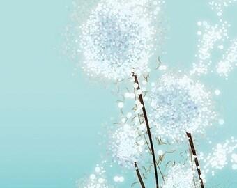 Dandelion Art - Perennial Moment (aqua) - 8x10 Print - Light Blue