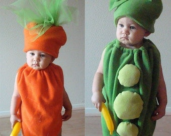 Twin Baby Costumes Peas and Carrots Costumes Infant Toddler Child Costume Baby Boy Costume Toddler Girl Costume Food Costume Vegetables Pod