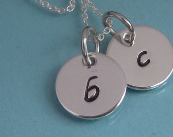 2 Small Initial Tag Hand Stamped Mother's Necklace