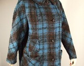 Vintage 50's Coat / Orange Flecked Blue & Black Plaid / M L