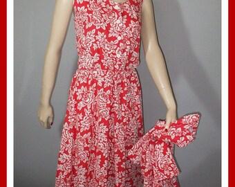 Vintage 80s Sundress & Jacket / Red Roses Print / Vintage 80s Does 50s / L XL