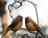 Love Bird Wedding Cake Topper - Brown Gold and Ivory or Custom Colors