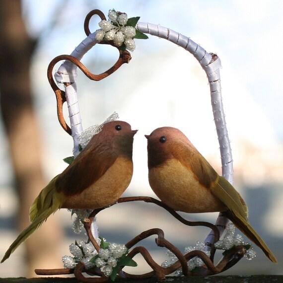 Items Similar To Love Bird Wedding Cake Topper Brown