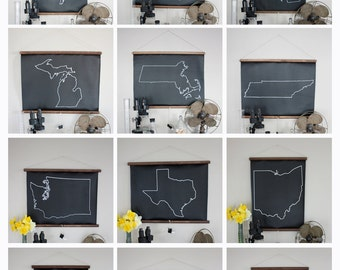 Chalkboard State Maps // Custom State Map Decor // 50 states // Virginia // Utah // Oklahoma // Oregon // New Hampshire // Nevada