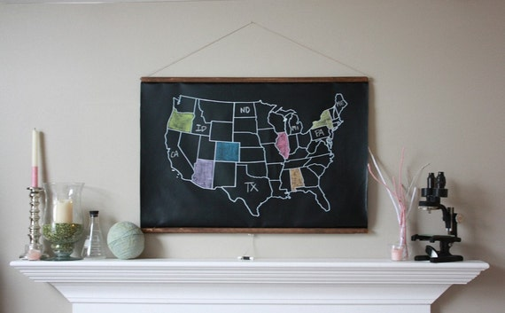 Chalkboard United States Map LARGE SIZE USA Map - Us map chalkboard