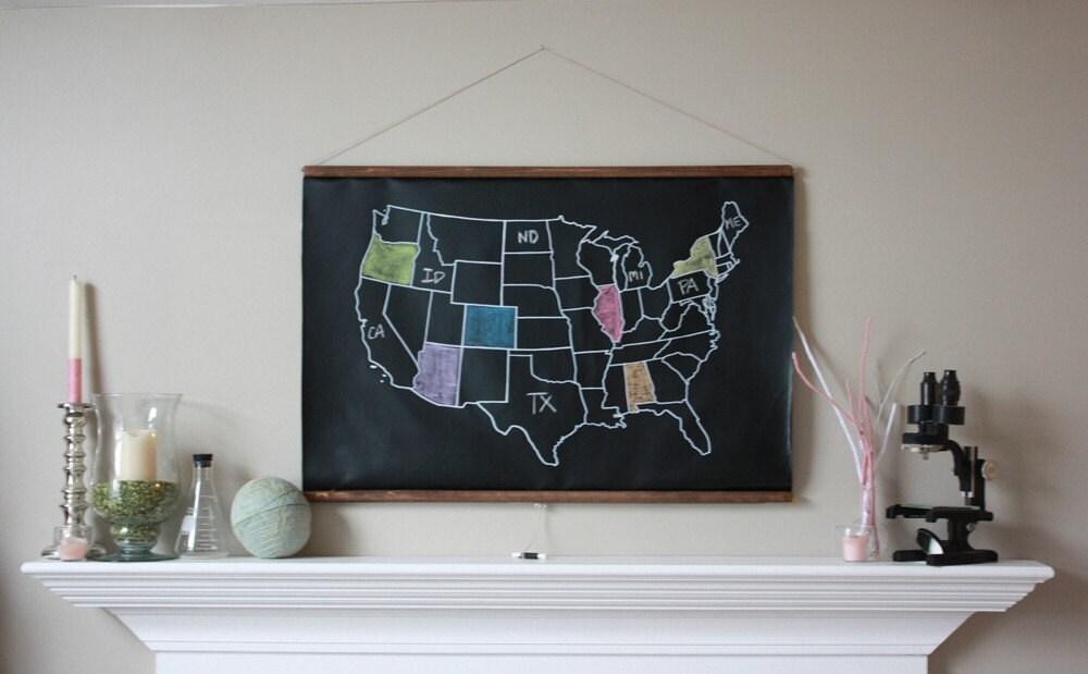 Chalkboard United States Map LARGE SIZE USA Map - Classroom size map of us