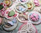 Cute Circle Embellishments set of 10, flowers, butterflies, apples, decorate your papercrafts