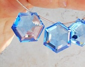 AAA Swiss Blue Topaz Star Faceted Large Step Cut Lab Created Gemstone Briolette 20 x 20mm x 9mm, Hexagon Stone - 22 Carat, Star Gemstone