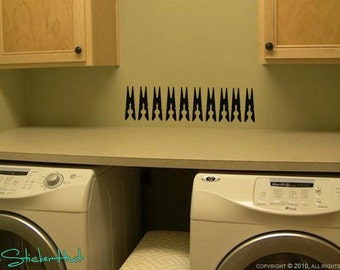 10 Clothespin Vinyl Wall Decor Decals Stickers 1045