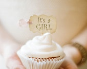 Baby Shower Cupcake Toppers It's a Girl Party Picks - Parchment Set of 18 - Choose Ribbons - girl sprinkle picks