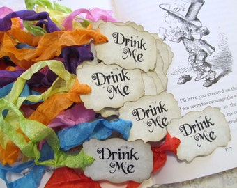 Alice Drink Me Favor Tags with ribbons - Double Sided Customized Available - Alice in Wonderland Party - Set of 18 - Choose Ribbon Color