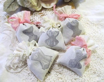 Vintage Corset Lavender Mini Sachet Shower Favor w/Ribbons - Set of Six - Choose ink & ribbon color - Lingerie Bachelorette Party Bridal