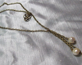 Freshwater pearl and Antique brass lariat y necklace