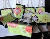 "Binder Clips - ""Green Abstract"" 12 medium binder clips"